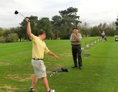 David-Teaching-Danny-One-Arm-Golf-Swing-As-A-Gravity-Golf-Drill