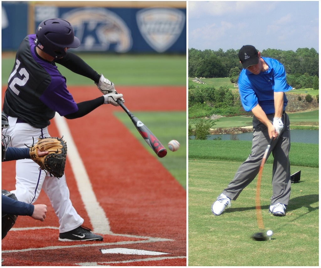 Rotational swing - using gravity to create a powerful golf swing is the same thing that is necessary in a baseball swing
